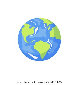 Vector cartoon flat globe illustration isolated on a white background. Flat earth planet with continents, oceans and clouds. Web icon design object . Save the planet concept