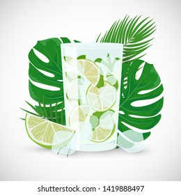 Vector cartoon flat illustration of Classic Mojito cocktail. Hand drawn glass of fresh Mojito with lime, mint and ice on tropic leaves background. Classic alcohol cocktail isolated on white background