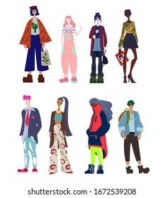 Vector cartoon flat illustration cloth styles collection set international trendy street fashion