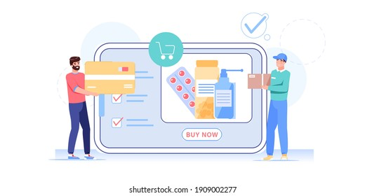 Vector cartoon flat man character buy goods,medicine online.Courier gives order medications to happy customer at online pharmacy store on mobile app screen-telemedicine,web site banner ad concept