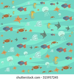 Vector cartoon flat ocean stuff background. For ui, web games, tablets, wallpapers, and patterns.
