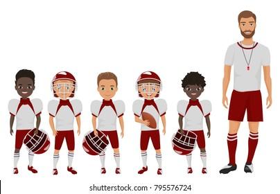 Vector Cartoon flat school american football boys team standing with their coach trainer.
