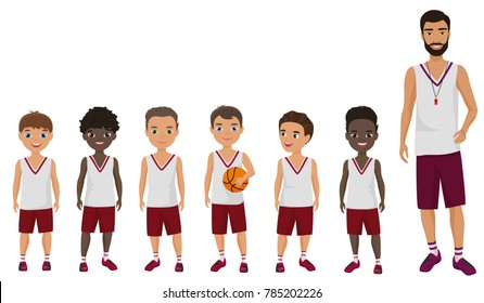 Vector Cartoon flat school boys basketball kids team standing with their coach trainer.