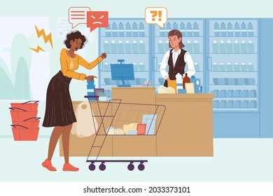 Vector cartoon flat seller and angry customer characters quarreling in grocery store.Anger management,purchase return,work with client objections,service quality concept,web site banner ad design