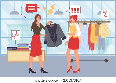 Vector cartoon flat seller and angry customer characters quarreling in clothing store.Anger management,purchase return,work with client objections,service quality concept,web site banner ad design