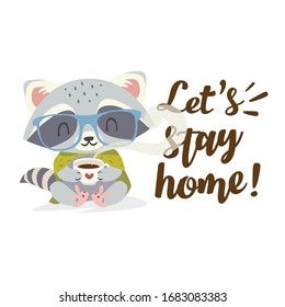 vector cartoon flat stay home cartoon racoon with a cup of coffee square illustration