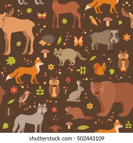 Vector cartoon flat style forest animals seamless pattern colorful background. Zoo collection of fox, wolf, bear, moose, hedgehog, reindeer, owl, boar, raccoon, woodpecker, hare.