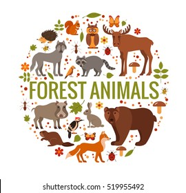 Vector cartoon flat style set of forest animals designed in circle. Zoo collection of fox, wolf, bear, moose, hedgehog, reindeer, owl, boar, raccoon, woodpecker, hare.  All elements are isolated.
