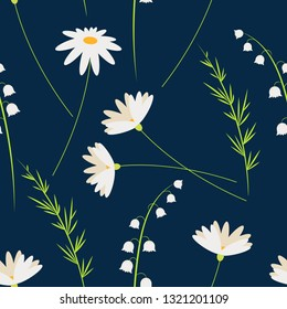 Vector cartoon flowers. Chamomiles and Lily of the valley. Seamless floral pattern. Fashion style for easter prints, batik and silk textile, cushion, pillow