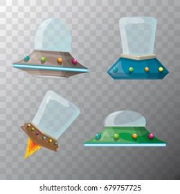 vector cartoon Flying Saucer set isolated on transparent background, cartoon Spaceship And cartoon UFO. Kids Ufo logo template