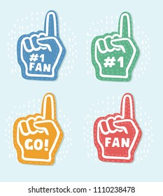 Vector cartoon foam fingers icons in three colors. We're 1. Lets' Go. Number One Fan description.