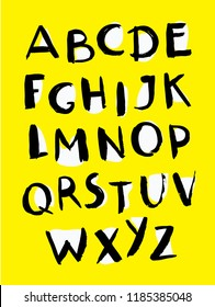 Vector cartoon font, typography, funny, careless type, grunge letters, alphabet for posters on yellow background. Capital latin english symbols.