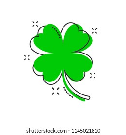 Vector cartoon four leaf clover icon in comic style. Clover sign illustration pictogram. Flower business splash effect concept.