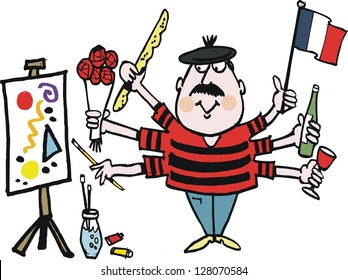 Vector cartoon of Frenchman with flag, wine, roses and artists easel.