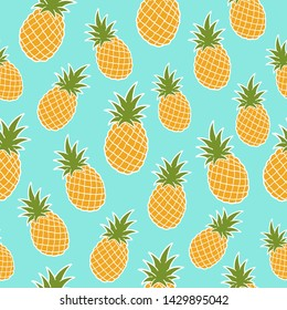 Vector Cartoon Fresh Pineapple Pattern in Blue Background