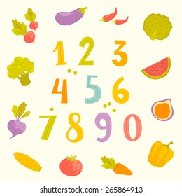Vector cartoon fruits and vegetables numerals for kids
