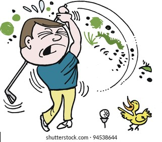 Vector cartoon of frustrated golfer trying to hit ball