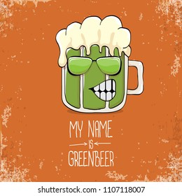 Vector Cartoon Funky Green Beer Glass Character With Isolated On Orange Background Label
