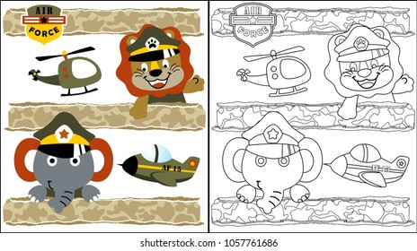 vector cartoon of funny animals with military aircraft, coloring book or page