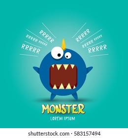 Vector cartoon funny blue dragon. Cartoon cute comic funky monster Dinosaur logo design template.