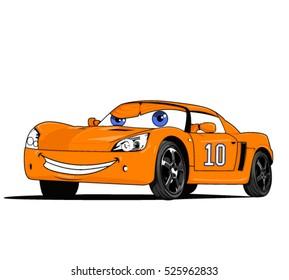 Vector Cartoon Funny Car Illustration For Print