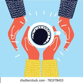 Vector cartoon funny cute illustration of couple in love holding cup of coffee in hands. Top view.