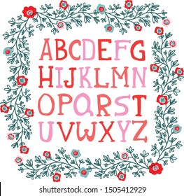 Vector  cartoon funny difference english Alphabets. Cute colorful vector English alphabet, vintage font, funny hand drawn typeface, ABC