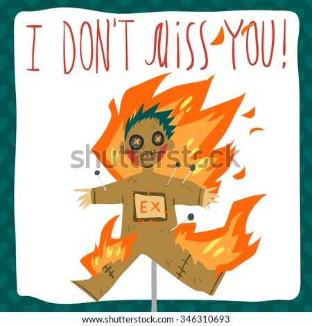 Vector Cartoon Funny Dont Miss You Stock Vector Royalty Free