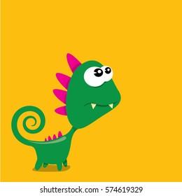 Vector cartoon funny green dragon. Cartoon cute green monster Dinosaur.