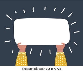 Vector cartoon funny illustraation of Hands holding big blank paper on dark background.