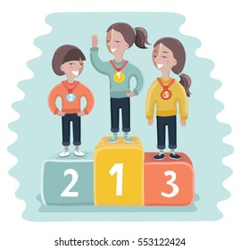 Vector cartoon funny illustration of ceremony of awarding medals. Three little girl athletes on the pedestal.