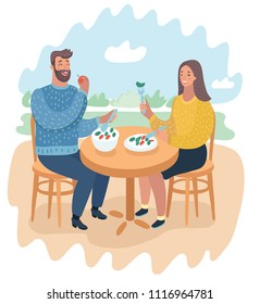 Vector cartoon funny illustration of couple in a street cafe. Man and woman eating healthy foot at the nature landscape.