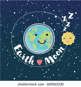 Vector cartoon funny illustration of Cute Earth and Moon rotates in orbit. Hand drawn lettering Earth love Moon. Sleepy smiling couple.