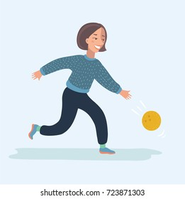 Vector cartoon funny illustration of girl playing bowling isolated on white background vector.