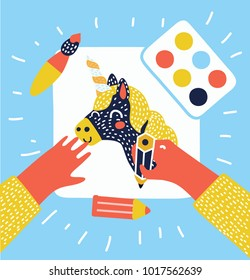 Vector cartoon funny illustration of hands painting, drawing and crafting image of unicorn on white paper.