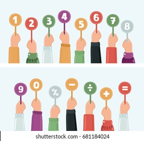 Vector cartoon funny illustration of hands holding score cards. Numbers set and sighns in different colors.