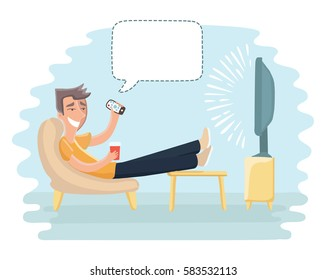 Vector cartoon funny illustration of man sitting on the couch and watching TV and talking bubble speech above him