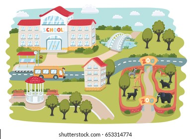 Vector cartoon funny illustration of part town maps. Zoo with animals, house, trees, Gazebo, park, pond, bridge, bus stop, school building
