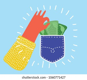 Vector cartoon funny illustration of Pickpocket. Human hand takes out money cash from pocket. Theft, security, carelessness, insecurity