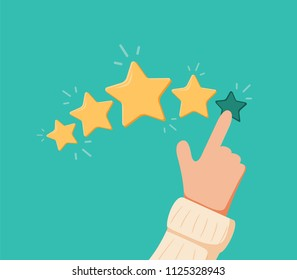 Vector cartoon funny illustration of Rating selection finger. Human hands put estimate. Rank. Five stars. Isolated objects. Choose feedback business rating. Customer positive experience survey result