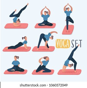 Vector cartoon funny illustration of set with beautiful woman in various poses of yoga. Set of xercises. Class, center, studio. Yoga poster. Healthy lifestyle in modern style. Female characters