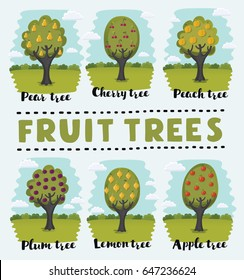 Vector cartoon funny illustration set of fruit orchard trees on summer garden background with hand drawn lettering name: Peach, Cherry, Lemon, Plum, Pear, Apple