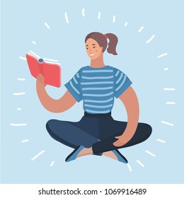 Vector cartoon funny illustration of woman reading book. Female character on isolated background.