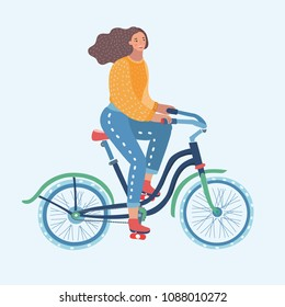 Vector cartoon funny illustration of woman riding bicycle. Female cartoon character on white background.