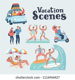 Vector cartoon funny illustration of young tourists couple. Family on vacation. Together scene. By car, riding on scooter, take photo of sights, splashing in sea on resort, surfing, relaxing on beach