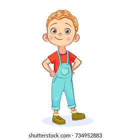 Vector cartoon funny little boy isolated on white background. The self-confident boy is standing with his hands in the sides.