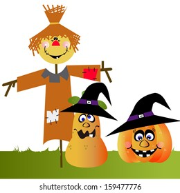 Vector Cartoon Funny Scarecrow with two Halloween Pumpkins With Witch Hats