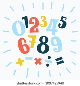 Vector cartoon funny set of alphabet numbers in different size and colors. Division sign, multiplication, plus, equals. Math collection.