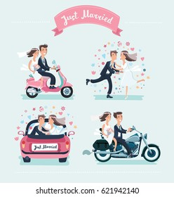 Vector cartoon funny set of illustration of wedding couple. Driving car, kiss, ride on motorcycle and scooter isolated