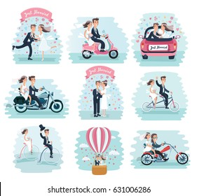 Vector cartoon funny set illustration of cute wedding couple bride and groom. Riding on motorcycle, scooter, air balloon,  tricycle bike, care dancing and kiss